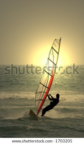 sunset windsurf - stock photo