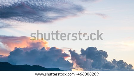 Sunset with cloud ,dramatic sky with clouds