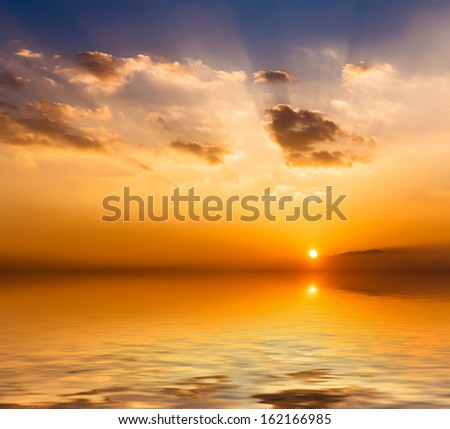 Sunset with clouds. - stock photo