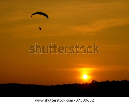 sunset with paratrooper