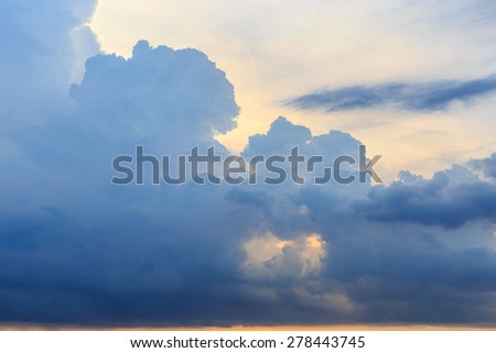 sunset with rain clouds in Thailand. - stock photo