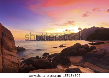 Sunset with sea stones in Hong Kong