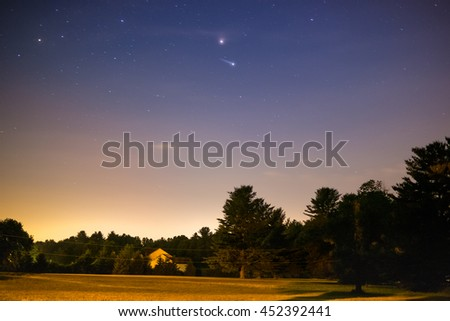 Sunset With Stars Visible - stock photo
