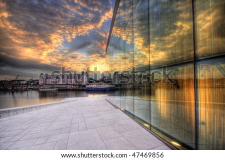 Sunseth Opera House In Oslo Norway - stock photo