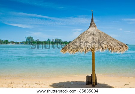 sunshade and the beach at Phuket, Thailand - stock photo