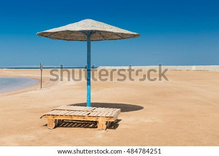 Sunshade umbrellas on the beach