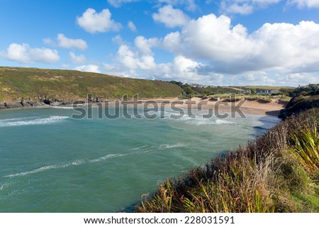 Sunshine blue sky and white clouds Porthcothan Bay Cornwall England UK Cornish north coast between Newquay and Padstow