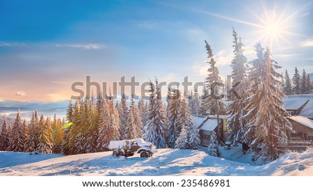 Sunshine, bright day, vehicle and houses covered with fluffy snow - stock photo