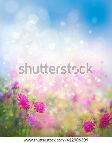 Sunshine, floral, nature background. - stock photo