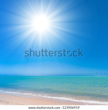 Sunshine Scene Paradise Wallpaper - stock photo