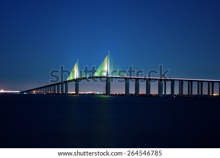 Sunshine Skyway Bridge at night on Florida's Tampa Bay - stock photo