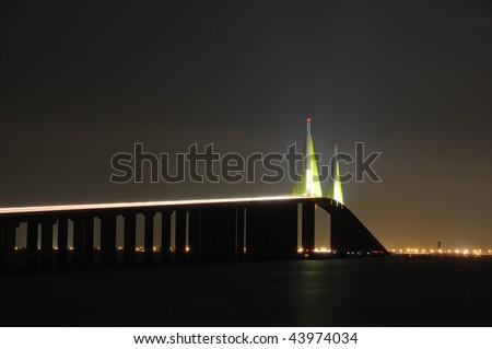 Sunshine Skyway Bridge over the Tampa Bay, Florida - stock photo