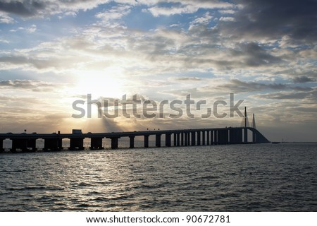Sunshine Skyway Bridge spanning Tampa Bay and connecting St. Petersburg and Terra Ceia,Florida - stock photo