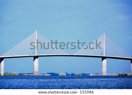 Sunshine Skyway Bridge Tampa Bay Fl - stock photo
