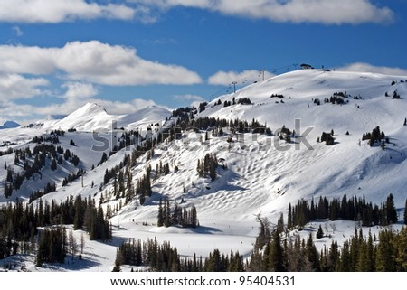Sunshine Village Ski Area, Near Banff, Banff national Park, Alberta, Canada - stock photo