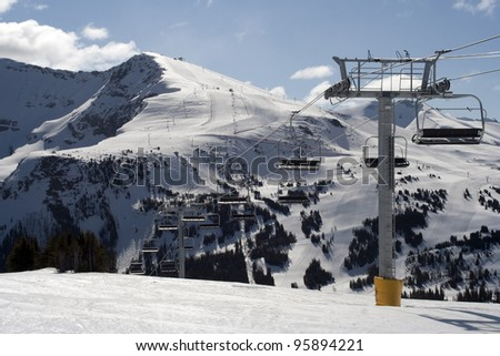 Sunshine Village Ski Resort, Banff National Park, Alberta, Canada - stock photo