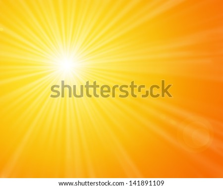 Sunshine - Yellow sunny sun light on a bright and warm orange sky - stock photo