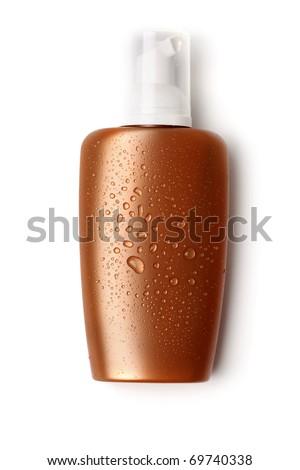 suntan cream, sunblock lotion on white background - stock photo