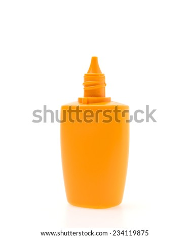 Suntan lotion cream bottle isolated on white background