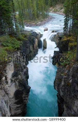 Sunwapta Falls in Jasper National Park near the Icefield Parkway - stock photo