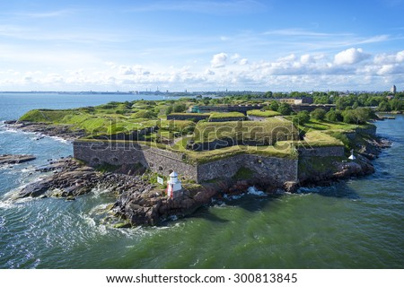Suomenlinna (Finnish) / Sveaborg (Swedish) One of the largest sea fortress in the world. The Swedish crown commenced the construction of the fortress in 1748 as protection against Russian expansionism - stock photo