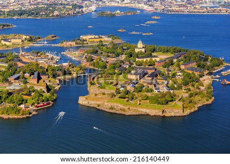 Suomenlinna Maritime Museum and the island - stock photo