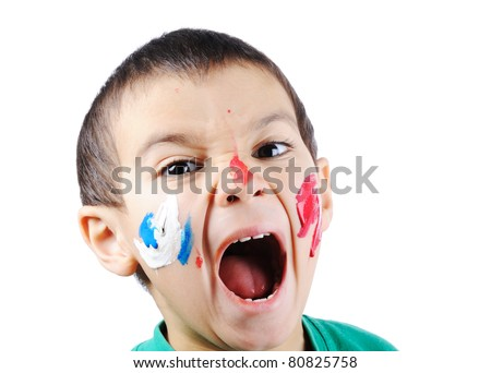 Super active boy with colors - stock photo