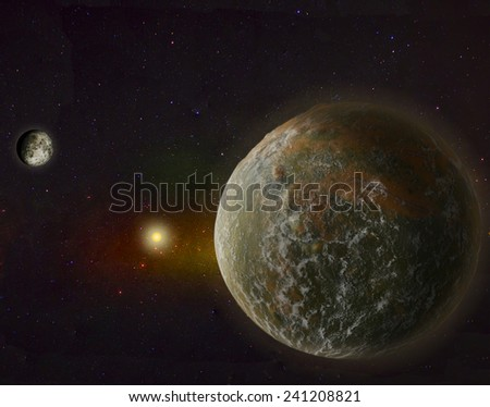 Super Big Earth with Moon - stock photo
