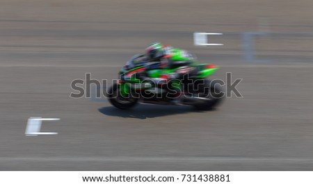 Super bike Motorcycle race on international race track, Thailand.