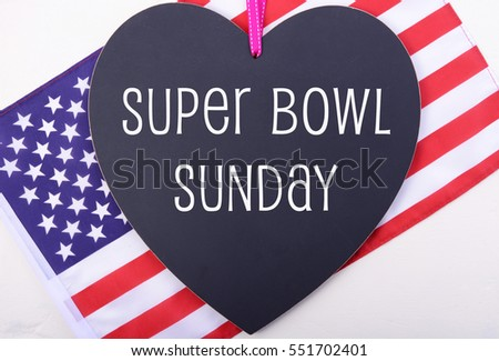 Super bowl sunday playoffs greeting message stock photo royalty super bowl sunday playoffs greeting message on heart shaped blackboard with usa stars and stripes flag m4hsunfo