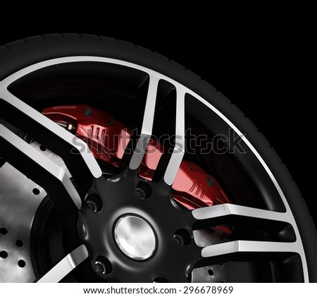 Super car disc-brake. - stock photo