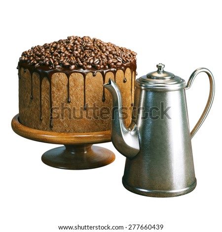 Super chocolate vegan cake with coffee beans on the top and tea kettle isolated on white background  - stock photo