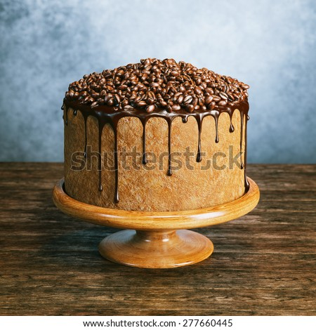 Super chocolate vegan cake with coffee beans on the top on wooden surface behind grey wall background  - stock photo