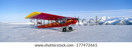 Super Cub Piper bush airplane, Wrangell-St. Elias National Park, Alaska - stock photo