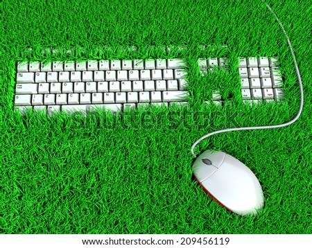 super ergonomic keyboard. conceptual illustration - stock photo