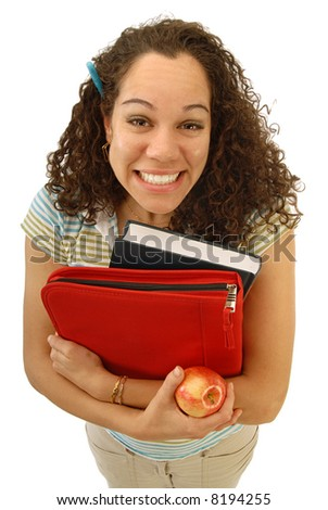 Super excited student with a big, cheesy smile on her face - stock photo