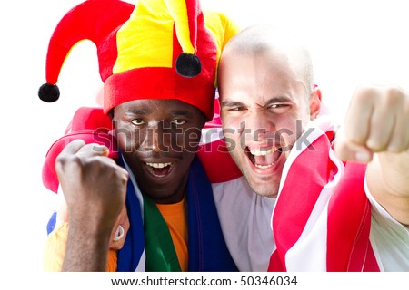 super fans of sports - stock photo