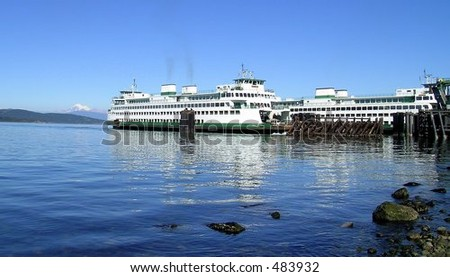 super-ferry returning from the san juan islands in washington state with another load of sunburned tourists. - stock photo