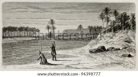 Super flumina Babylonis: old illustration of  Babylonian river inspired to Orlando di Lasso motet. Created by De Bar after Lejean, published on Le Tour du Monde, Paris, 1867 - stock photo