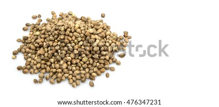Super food hemp seed over white background