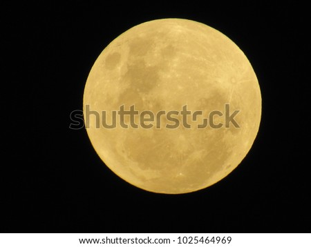 super full moon with yellow gold color image in the southern hemisphere in January 2018, sp, brazil