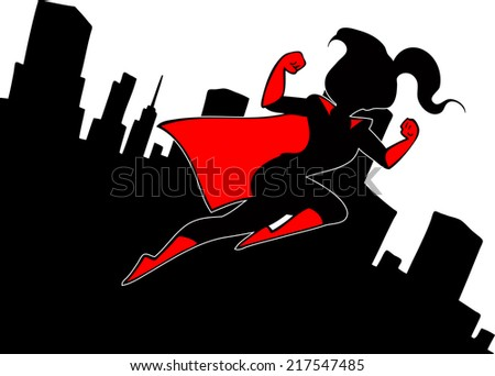 Super girl silhouette on the background of the city - stock photo
