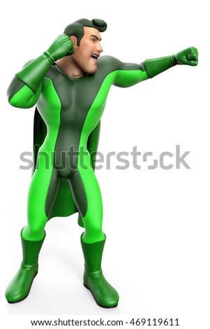 super green cartoon big punch side view 3d illustration