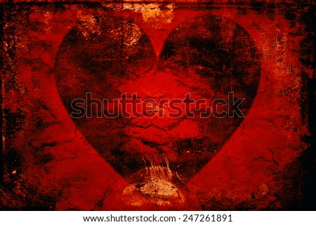 Super grunge red heart / aching love - stock photo