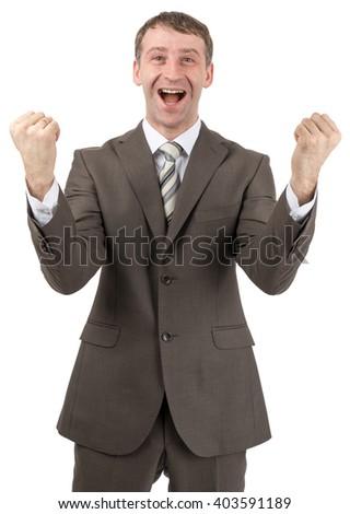 Super happy businessman raised his hands up - stock photo
