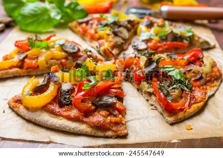 Super Healthy Vegan Whole Grain Vegetables and Mushrooms Pizza - stock photo