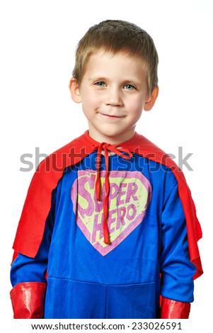 Super Hero Boy isolated on white background - stock photo