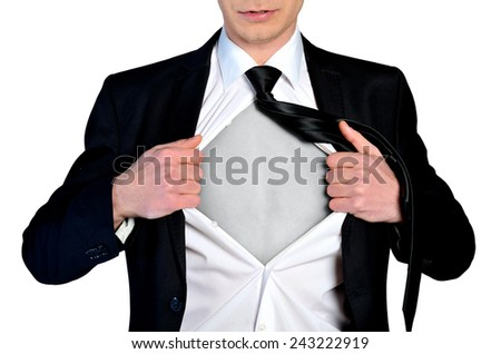 Super hero concept business man - stock photo