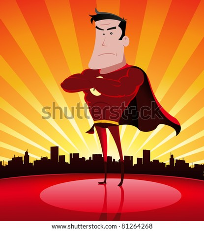 Super-Hero/ Illustration of a cartoon super hero standing proudly with cityscape behind - stock photo