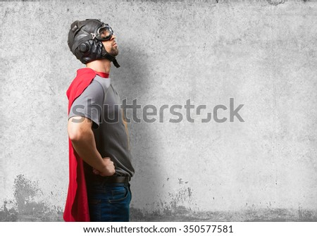 super hero man on white background - stock photo